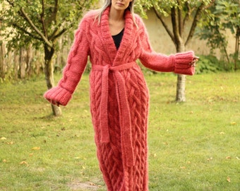 Hand Knitted Mohair Coat Cardigan Coral Shawl Collar Fuzzy Sweater Long Jacket by EXTRAVAGANTZA  MADE to ORDER