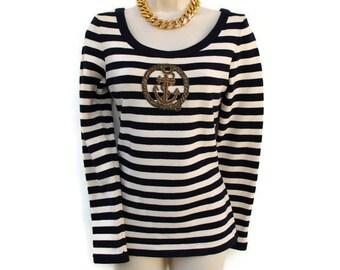 Ladies Nautical Sweater Navy Blue Cream Stripe Long Sleeve Scoop Neck Form Fitting Sz S M teamvintageusa ecochic