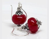 SOLD OUT: Cranberry Red Earrings, Czech Glass Earrings, Dangle, Drop, Sterling Silver, Elegant, Classic Design