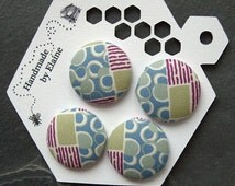 Fabric Covered Buttons - 4 x 27mm buttons, handmade button, pastel blue green purple buttons, abstract buttons, Edwardian buttons, 0845
