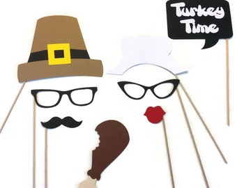 Photo Booth Props-8 Piece Thanksgiving Photo Booth Prop Set