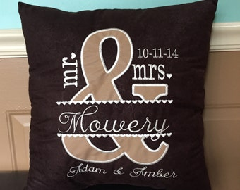 Unique customizable wedding gift pillow personalized