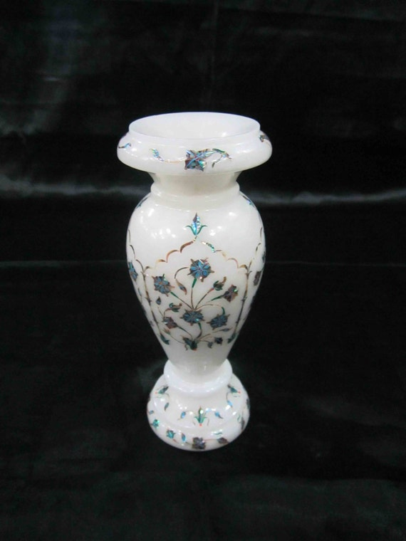 Italian Marble Inlay Bowl : Marble inlay flower vase stone inlaid handicrafts