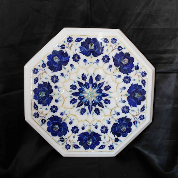 Marquetry Marble Coffee Table: Coffee Table Top White Marble Inlaid Marquetry Pietra Dura