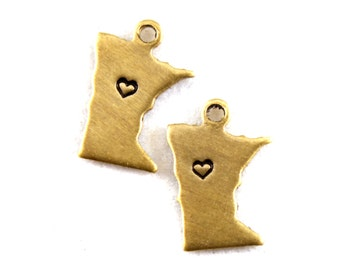 2x Brass Minnesota State Charms w/ Hearts - M073/H-MN