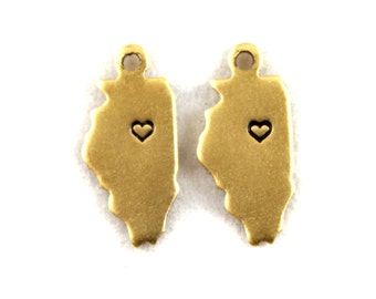 2x Brass Illinois State Charms w/ Hearts - M073/H-IL