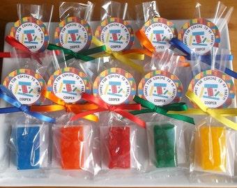 10 Building Blocks Party Favors - Construction Party, Boy Birthday Party Favor, Kindergarten, Pre School, Class Favors, Kids Soap Favors