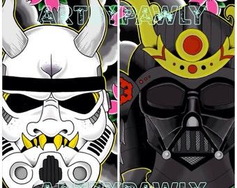 "8x10""- Japanese Hannya Mask Stormtrooper  and Samurai Darth Vader STAR WARS Print Set"