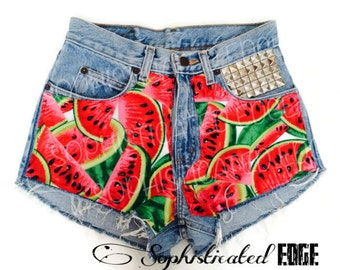 Juicy Melon- Studded High Waisted Denim Shorts/ Festival Shorts -COACHELLA