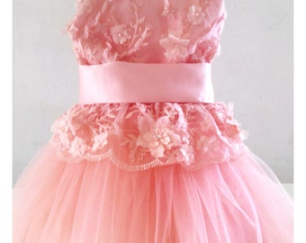 Pink Lace Dress with Pink Silky Tulle