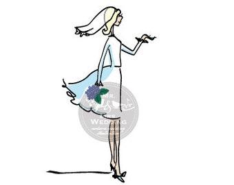 Custom Color Wedding Illustration - Bride 1