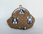 Coin purse in cotton bulldog, cotton coin pouch, cotton purse, womens purse