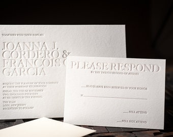 Letterpress Wedding Invitation, Letterpress RSVP card, Letterpress Wedding, Letterpress Menu, Letterpress Wedding Program, wishing well