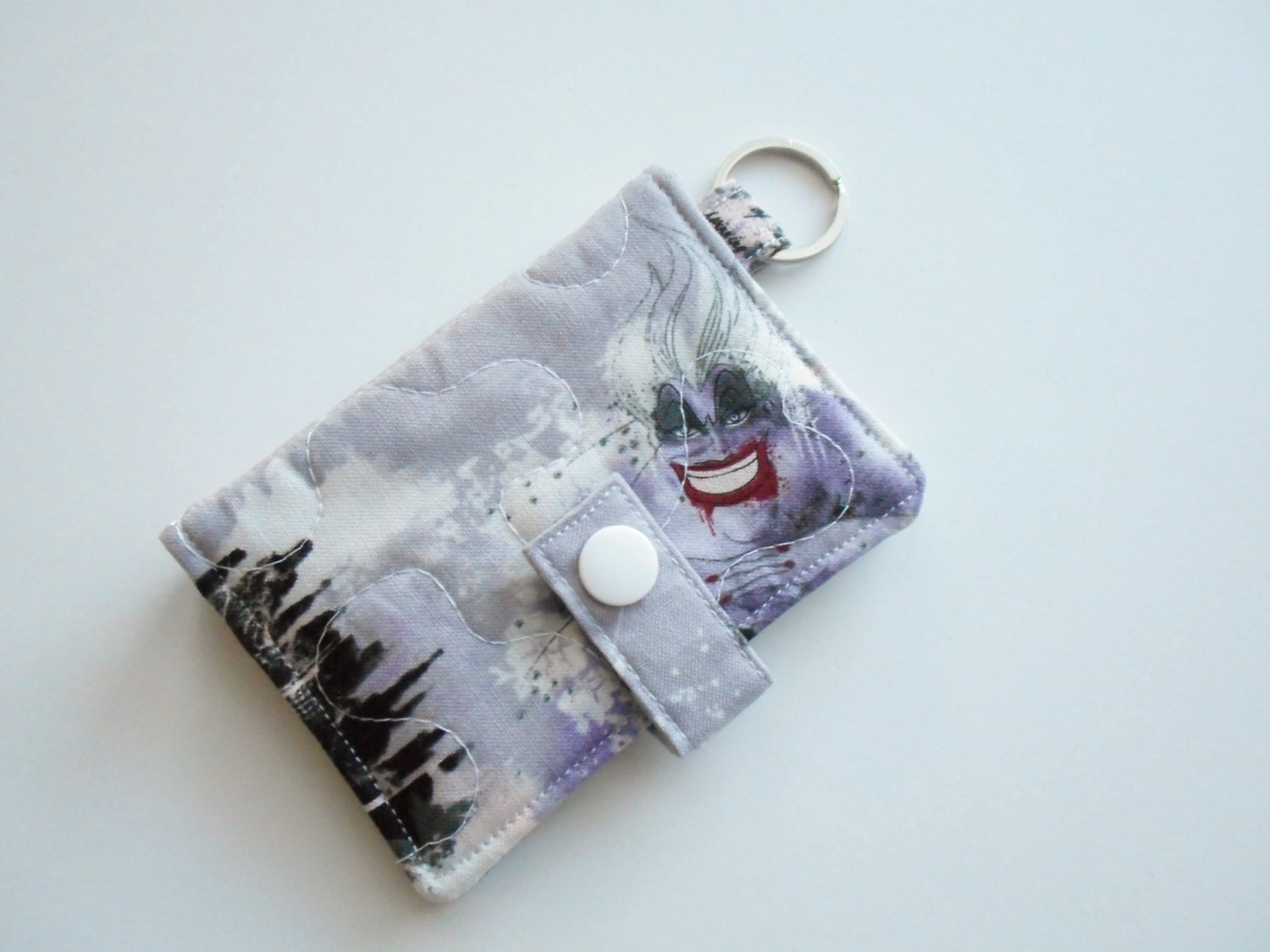 Quilted business card holder keychain wallet by for Keychain business cards