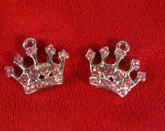 "5pc ""princess crown"" charms in antique style silver (BC480)"