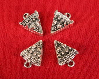 """10pc """"cake slice"""" charms in antique style silver (BC558)"""