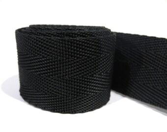 3 yards of 1.25 inch / 32mm black webbing, strap (WB18)