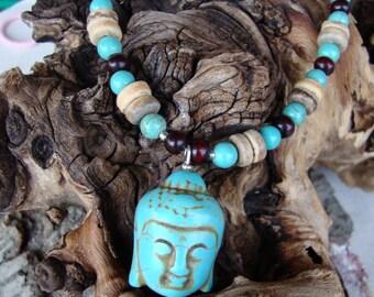 Buddha head, goddess pendant, turquoise goddess, heishi beaded, yoga necklace, meditation jewelry