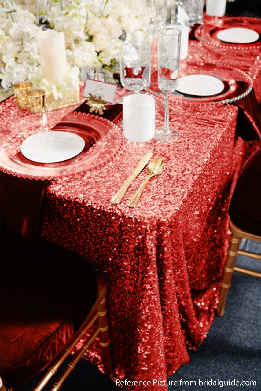 Red Sequin Tablecloth Ready To Ship For Wedding Reception