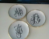 Gold Rimmed Monogram Trinket Dish for Jewelry