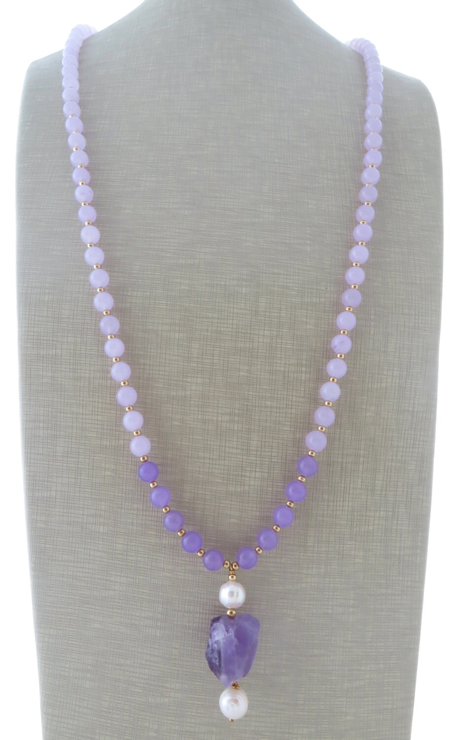 lavender jade necklace amethyst pendant necklace by
