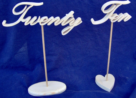 Wooden Table Numbers In Script With Stands