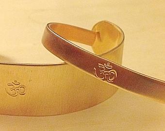 Golden Om Bangle (1/4 inch bangle and 1 inch bangle set)