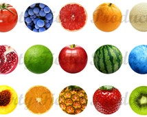 DOWNLOAD INSTANTLY - Fruits Digital Collage Bottle Cap, Earring, Pendant, Craft Images