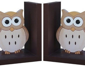 Wooden Owl Bookends - Nursery Owl Bookends