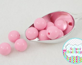 20mm Chunky Acrylic Beads 10ct, Light Bubblegum Pink, Gumball Beads, Round