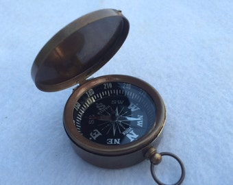 Antique Finish Brass Compass w/ Lid - Necklace Pendant - Old Vintage Pocket Style - Nautical Maritime Gift