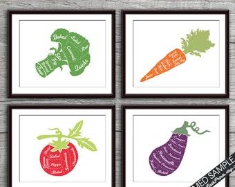Broccoli, Carrot, Tomato and Eggplant (Vegetable Butcher Diagram) 4 Art Prints (Featured Assorted Colors) Kitchen Vegan Vegetarian