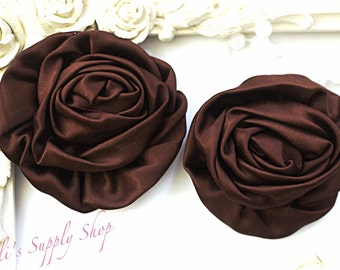 """Set of 2 - Brown Large Satin Roses - 3"""" Large Satin Rolled Flowers - Wholesale Lot - Satin Rolled Rosettes - Fabric Flowers Wholesale"""
