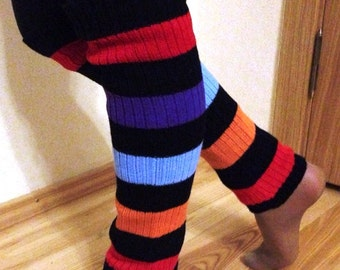 READY TO SHIP Striped colorful soft leg warmers