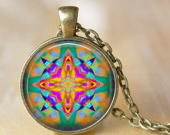 MANDALA henna Pendant Necklace Mandala Yoga Glass Pendant Handmade Buddhism Jewerly Yoga Pendant Necklace