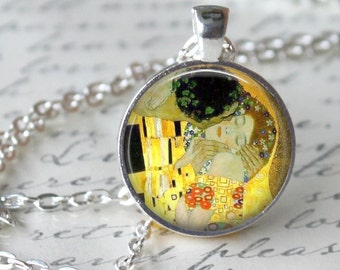 The Kiss by Gustav Klimt Necklace Pendant Necklace Klimt  Art Necklace Handmade Pendant Art Nouveau Modern Art Jewelry