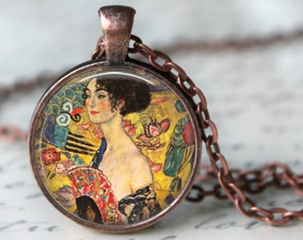 Lady with Fan by Gustav Klimt Necklace Art Pendant Necklace Handmade Glass Pendant Art Nouveau Modern Art (205)