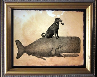 Labrador Retriever Chocolate Lab Riding Whale - Vintage Collage Art Print on Tea Stained Paper - Vintage Art Print