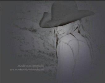 Rainy Day Cowgirl 11×14 canvas stretched print. Signed by Western Photographic Artist of the American West, Amanda Smith Wyo. Black & White