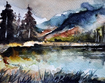 ORIGINAL Watercolor Painting, Small Format Landscape Painting, Mountain Art 4x6 inch
