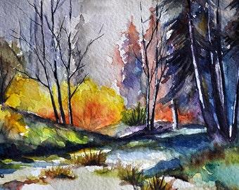 Original Watercolor Painting, Autumn Forest Landscape 5x7 inch