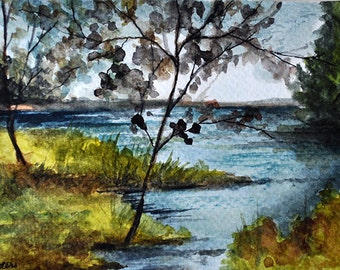 SALE ORIGINAL Watercolor Painting, Lake Landscape 4x6 inch