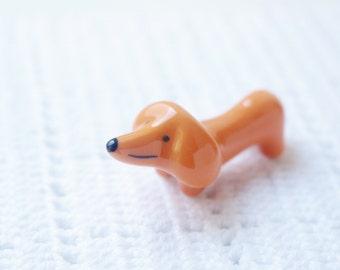 Ceramic sausage dog miniature, Dachshund dog ornament, porcelain ornament, ceramic dog animal,ceramic miniature