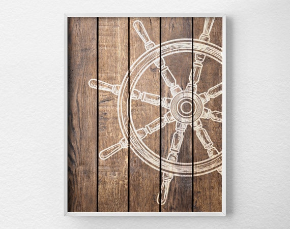Nautical Wheel Decor Nautical Bathroom Rustic Nautical