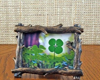 Tree Branch Frame with a Real Genuine Four Leaf Clover - TB-4F
