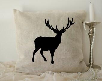 Burlap Deer Pillow cover, Christmas Pillows, antler pillow, Rustic Deer pillow case, Deer Silhouette, Deer Throw Pillow, Home Décor