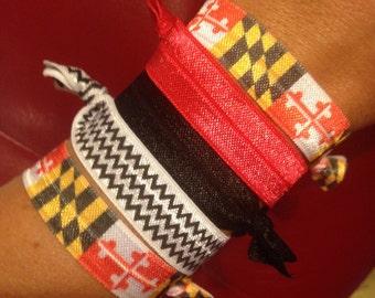 Set of 5 University of Maryland Terrapins-Inspired Fold Over Elastic Hair Ties or Headbands