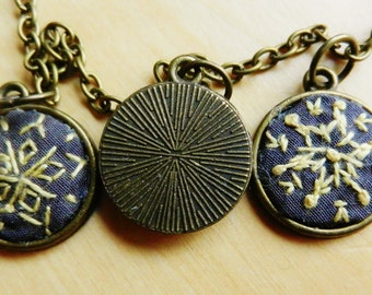vintage/boho old-style triple embroidery art necklace/pendant, Mother day gift/present