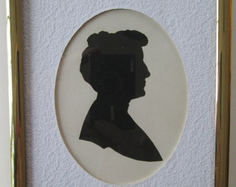 Antique Silhouette Woman's Portrait 1900s Profile Hand Cut Original Art