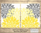 "Yellow Flower Bursts Blossoms Botanical Printable Art 2 8"" x 10"" Grey and Yellow Digital Modern Wall Art Set Home Decor Instant Download(49)"
